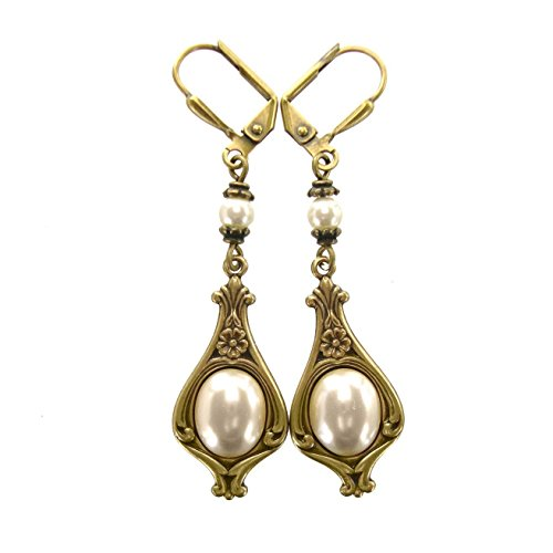 Victorian Style Bridal Cabochon Earrings with Swarovski Crystal Simulated Pearls and Antiqued Brass