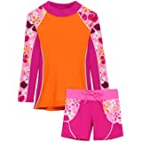 Tuga Girls Shoreline L/S in Buff Orange & Swim Short in Misty Pink(UPF 50+), 6/7 yrs