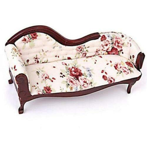 (1:12 Dollhouse Miniature Furniture Sofa Wooden Recliner Chaise Vintage Sofa \)