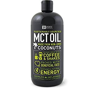 Premium MCT Oil derived only from Organic Coconuts - 32oz BPA free bottle | Ketogenic and Paleo diet approved ~ Non-GMO Project Verified