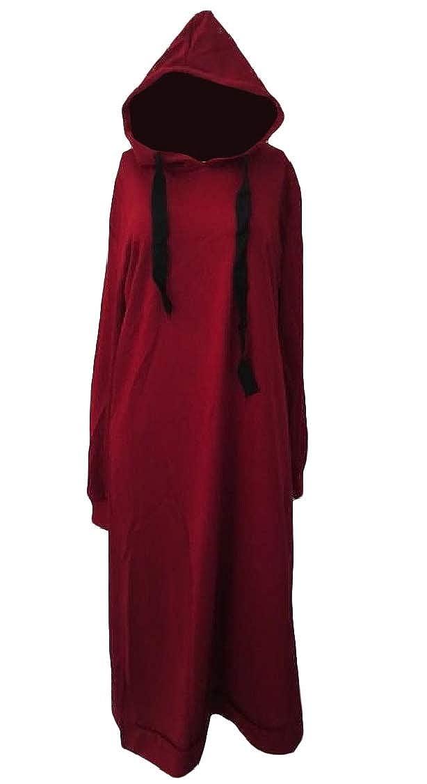 DressU Womens Long Sleeve Mid-Long Pullover Hood Dress Baggy Sweatshirts