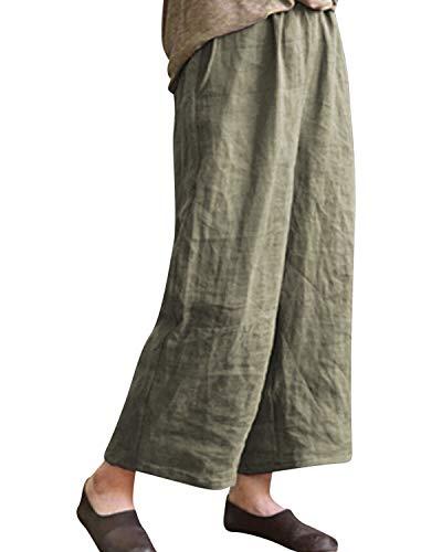 (BBYES Women's Vintage Retro Plus Size Elastic Waist Wide Leg Linen Cropped Pants Green S)