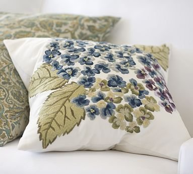 pottery barn hydrangea embroidered pillow cover - Pottery Barn Pillow Covers