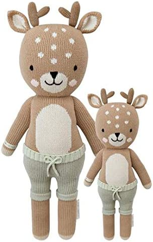 CUDDLE KIND Elliott The Fawn Little 13 Hand-Knit Doll 1 Doll 10 Meals, Fair Trade, Heirloom Quality, Handcrafted in Peru, 100 Cotton Yarn