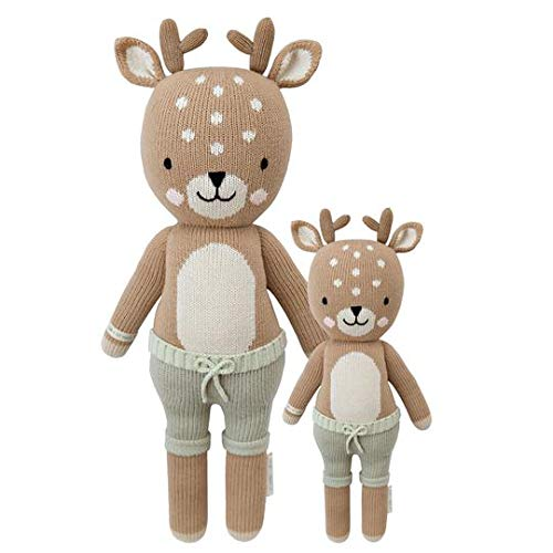 CUDDLE KIND Elliott The Fawn Regular 20 Hand-Knit Doll 1 Doll 10 Meals, Fair Trade, Heirloom Quality, Handcrafted in Peru, 100 Cotton Yarn
