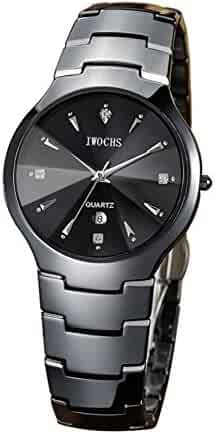 89efd8faf Black ceramic watch/ waterproof fashion watch/Business men calendar watch-A