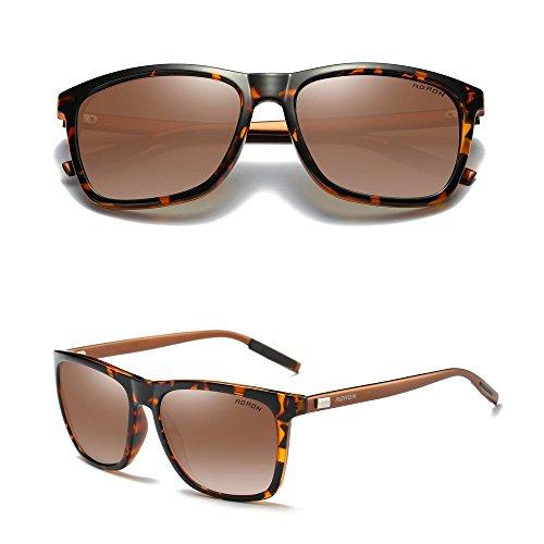 Aluminium Men's Polarized Driving Mirrored Sunglasses Tortoise/Tan - Kong Brand Sunglasses Hong