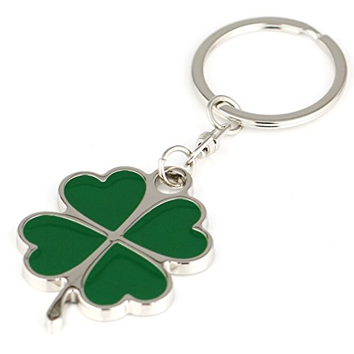 Jzcky Shzrp Silver and Green Color High Quality Zinc Alloy Four-leaf Clover Fortune Keychain (Four-leaf Clover) (Clover Key Charm)