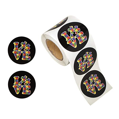 250 Round Autism Love Awareness Stickers (250 Autism Stickers) -