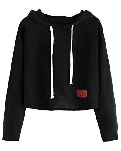 Maybest Women Autumn Fashion Hoodies Long Sleeves Shirts Sweatershirt Crop Top Pullover Sports Tops Sweater Black One Size