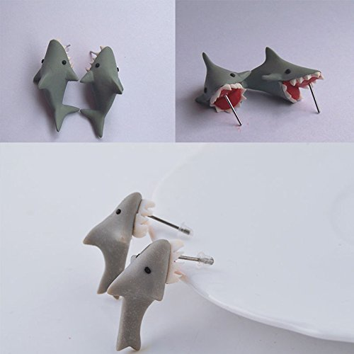 shark+bite Products : Sumanee Particular Gray Shark Bite Stud Likable Trendy Polymer Clay Earring Hot Sale