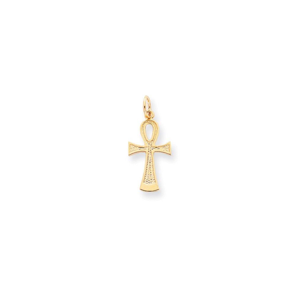 10k Solid Flat-Backed Ankh and Egyptian Cross Pendant