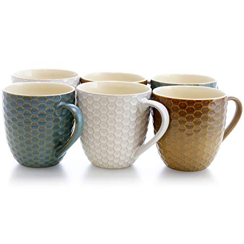 Elama EL-HONEYBEE Honey Bee 6-Piece 15 oz. Mug Set, Assorted Colors, 15oz, Multicolor ()