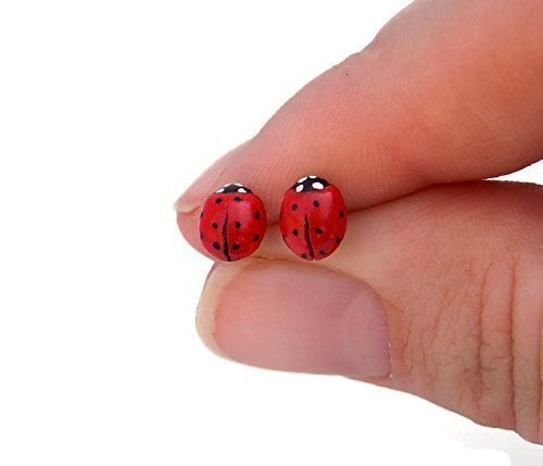 Handcrafted Red Ladybug Stud Earrings on Sterling Silver -