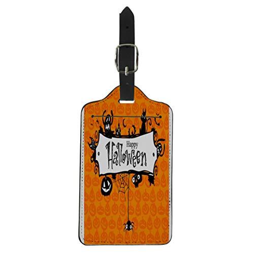 Pinbeam Luggage Tag Orange Border Halloween Red Pumpkin Pattern Lantern Vintage Suitcase Baggage Label -