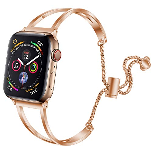 - hooroor Bracelet Compatible for Apple Watch Band 42mm 44mm, Feminine Bangle Cuff with Clover Pendant for iWatch Bands Series 4 3 2 1 Stainless Steel Metal Wristband Strap (Rose Gold Glossy-42mm 44mm)