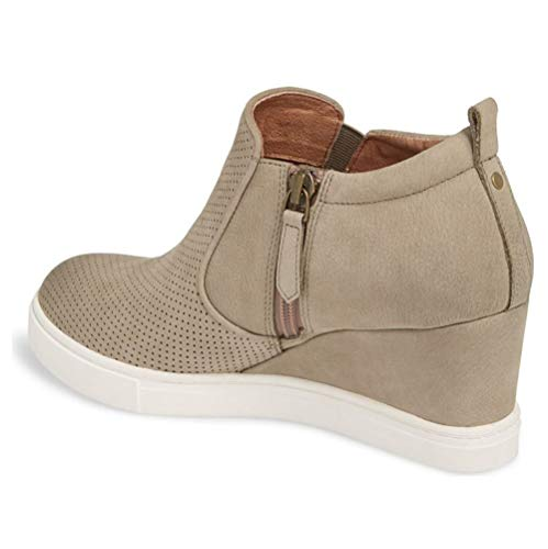 Pump Slip Sneaker 1 khaki High Top Platform Booties on Heeled Hollow Wedge Out Womens Ankle Boots I6AwxPE