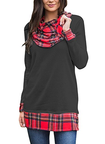 Plaid Cowl Neck (Hegeo Women Cowl Neck Long Sleeve Plaid Hem Sweatshirt Tunic Top Blouse)