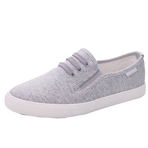 Women Flats on Decoration Grey Loafers Lace Hattie Elastic Slip with Canvas dnw7Yq4