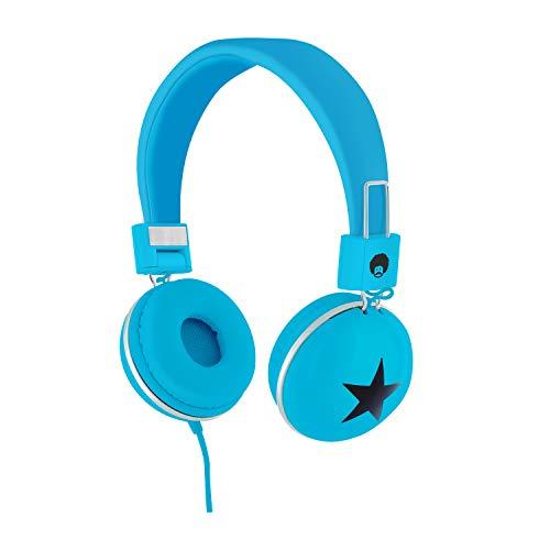 Rockpapa Star On Ear Headphones Foldable, Adjustable Headband for Kids Childrens Boys Girls Adults, iPhone iPod iPad Smartphones Tablets Computer DVD Blue