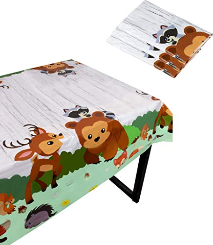 Blue Panda Woodland Animals Party Tablecloth - 3-Pack Disposable Plastic Rectangular Table Covers - Animals Themed Party Supplies Kids Birthday, Baby Shower Decorations, 54 x 108 inches -