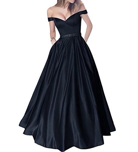 Beaded V-neck Skirt (Plus Size Off Shoulder Beaded Satin V Neck Prom Dress Evening Gown Dark Navy US 20W)