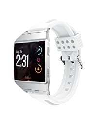 Watch Bands for Fitbit Ionic, MoreToys Silicone Sports Replacement Accessories Wristband Strap for Fitbit Ionic Smartwatch (White)