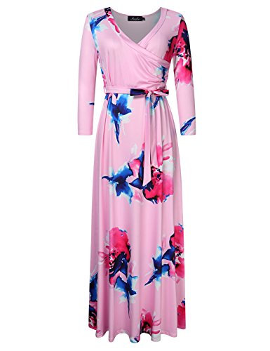 AMZ PLUS Women Plus Size Floral Maxi Long Dress 3 4 Sleeve Wrap Dress With Belt Pink XL