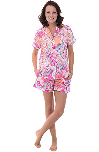 (Alexander Del Rossa Womens Woven Cotton Pajama Set with Shorts, Button Down Pjs, Large Vibrant Pink Paisley (A0502P81LG))