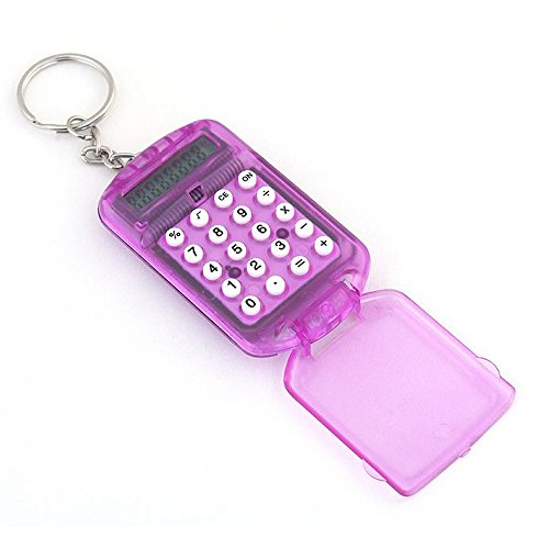 Mini Electronic Calculator 8 Digits Plastic Casing Keychain Calculator Pocket Key Ring for School Office Arithmetic Tools (Random) by paway (Image #2)