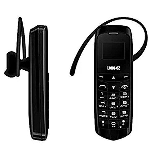 LONG-CZ J8 Unlock mini mobile phone Bluetooth dialer earphone 0.66 inch Single SIM card MP3 SMS Low radiation cell phones (Black) (Headset Bluetooth Prepaid)