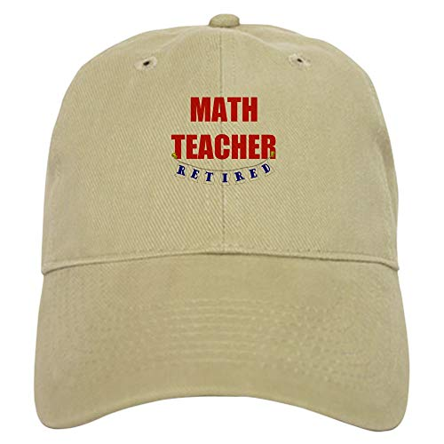 CafePress Retired Math Teacher Baseball Cap with Adjustable Closure, Unique Printed Baseball Hat Khaki (Best Careers For Former Teachers)