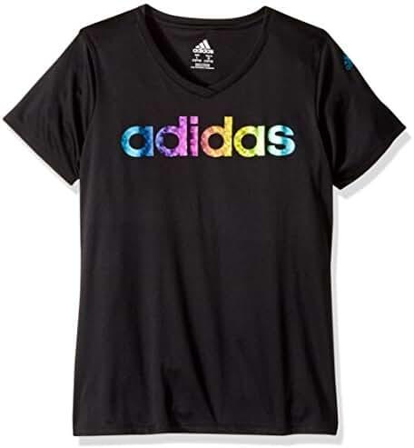 adidas Big Girls' Short Sleeve V-Neck Tee