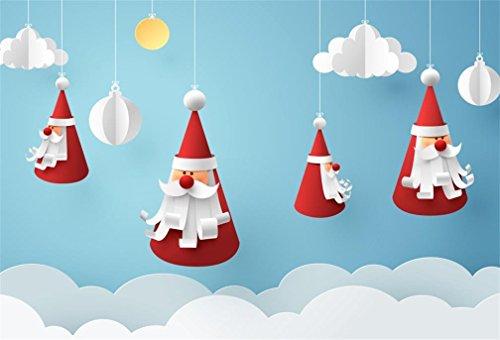 AOFOTO 5x3ft Cute Paper Santa Claus Decoration Backdrop Childish Clouds Christmas Background Holiday Party Festive Xmas Celebration Banner Photo Studio Props Kid Children Portrait Vinyl -