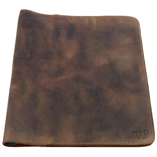 Hide & Drink, Rustic Leather Journal Cover (8.5 x 11 in.) / Refillable Moleskine Cahier XXL Handmade Includes 101 Year Warranty :: Bourbon Brown