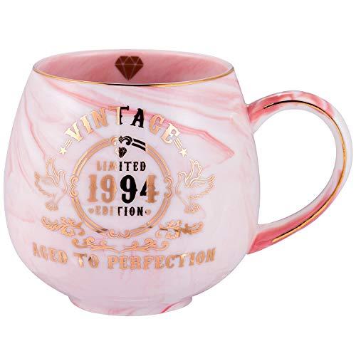 25th Birthday Gifts for Women Men   Vintage 1994 Aged To Perfection Ceramic Marble Mug   25th Anniversary Gifts for Husband Wife Mom Dad   Pink Ceramic Marble Mug 15 oz