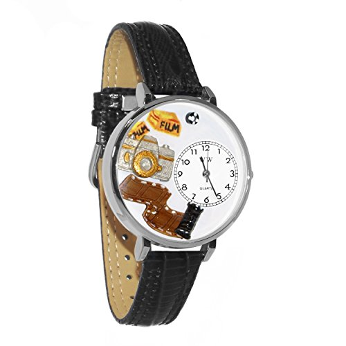 Womens Photographer Black Leather (Whimsical Watches Unisex U0610012 Photographer Black Padded Leather Watch)