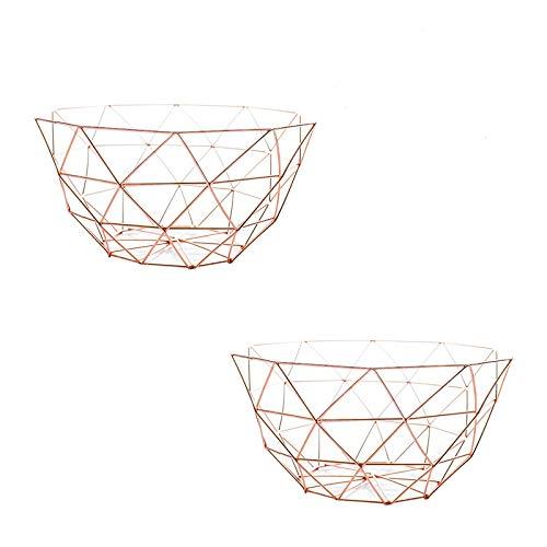 (AceList Set of 2 Metal Fruit Basket Countertops Storage Bowl Vegetable Basket Displat Stand (Rose)