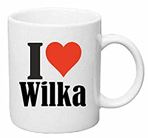 """taza para café """"I Love Wilka"""" Cerámica Altura 9.5 cm diámetro de 8 cm de Blanco"""
