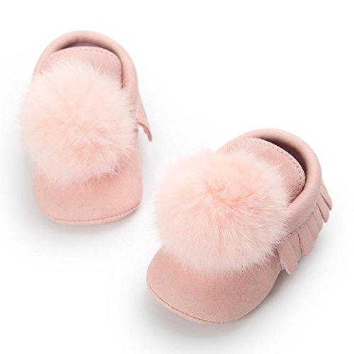 Babyschuhe, Huhu833 Baby Ball Quasten halten warme Lederschuhe Sneaker Anti Rutsch Schuh Rosa