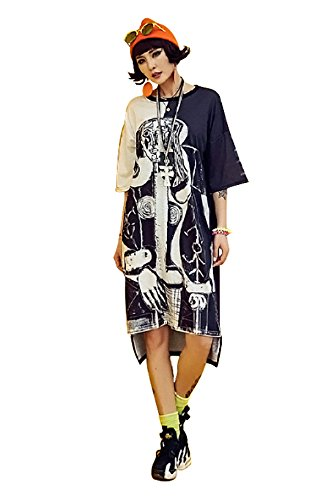 G.G.W Womens Tee Dress Cranky Graffiti Hip-HOP Cool Girl Loose Boyfriend by G.G.W