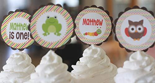 12 - Owl Frog Caterpillar Outdoor Woodland Creature Red Brown Green Happy Birthday Cupcake Toppers - Party Packages, Tags, Banners, Door Signs -