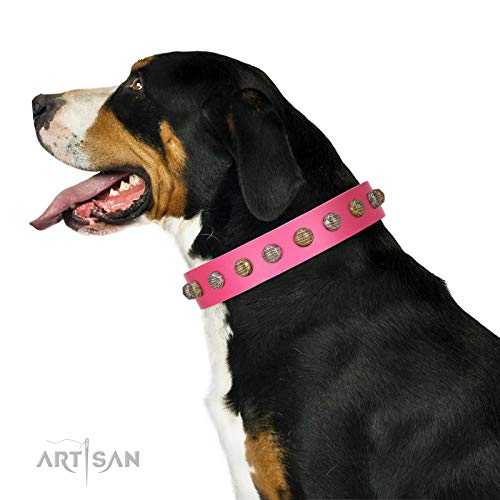 FDT Artisan 28 inch Roseate Caprice Pink Leather Collar with Silvery and Bronze-Like Medallions Box Included - 1 1/2 inch (40 mm) Wide