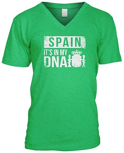 (Blittzen Mens V-Neck Spain It's in My DNA, L, Green)