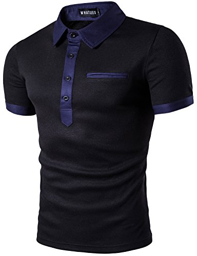 Whatlees Mens Hipster Casual Slim Fit Basic Polo Shirts Short Sleeve With Fake Pocket/Tops T52-Black - Polo Brand Fake