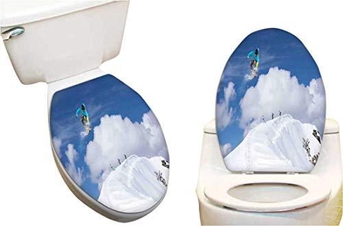 (Vinyl Toilet Set Cover Paper Decor for Snowboarder on The Mountaintop with Cloudy Sky Extreme Sports Theme Photo Blue White Fashion Toilet Seat Sticker Vinyl Art 15