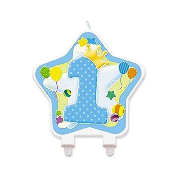 Big Party Vela en Forma de Estrella 1 ° Cumpleaños Azul ...