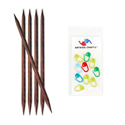 Knitter's Pride Knitting Needles Cubics Double Pointed 8 inch (20cm) Size US 7 (4.5mm) Bundle with 10 Artsiga Crafts Stitch Markers 300123