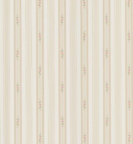 Brewster 414-49230 Rosette Beige Rosebud Stripe (Stripe Rosette)
