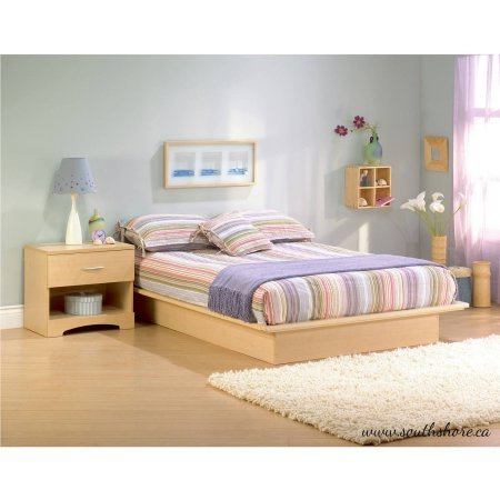 Advanced Modern Bed Style Maple Platform Bed with Molding Queen 60
